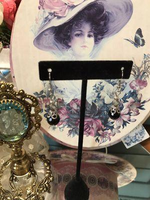 Pretty ! Victorian Black Silver Earrings for Sale in Gainesville, VA