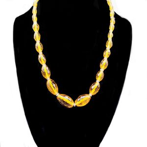 Vintage 1950/1960s Artisan Madeira Citrine Colored Faceted Graduating Oval Crystal Beads 1/20/14k Spring Ring Chocker Necklace for Sale in Briarcliff Manor, NY