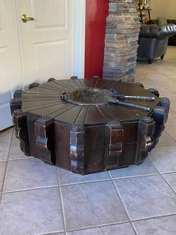"Coffee Table Rustic Carved Wood And Metal Medaliom Made In Mexico 4ft Diameter 16.5"" Tall ( Holds Coals In The Center Plate ) for Sale in Glendale,  AZ"