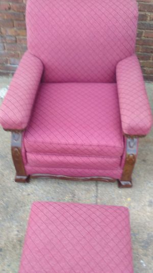 Queen Anne style beautiful Ottoman and chair wood grain mahogany set for Sale in Washington, DC