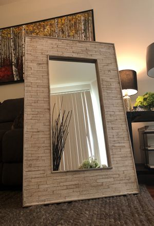 Beautiful hand crafted and authentic cream/ dusty pearl wood framed mirror. for Sale in Los Angeles, CA