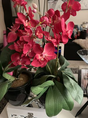 Set of two artificial orchid plants in black vase for Sale in Arlington, VA