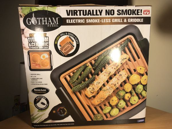 GOTHAM STEEL Smokeless Electric Grill, Griddle, and Pitchfork, Indoor BBQ