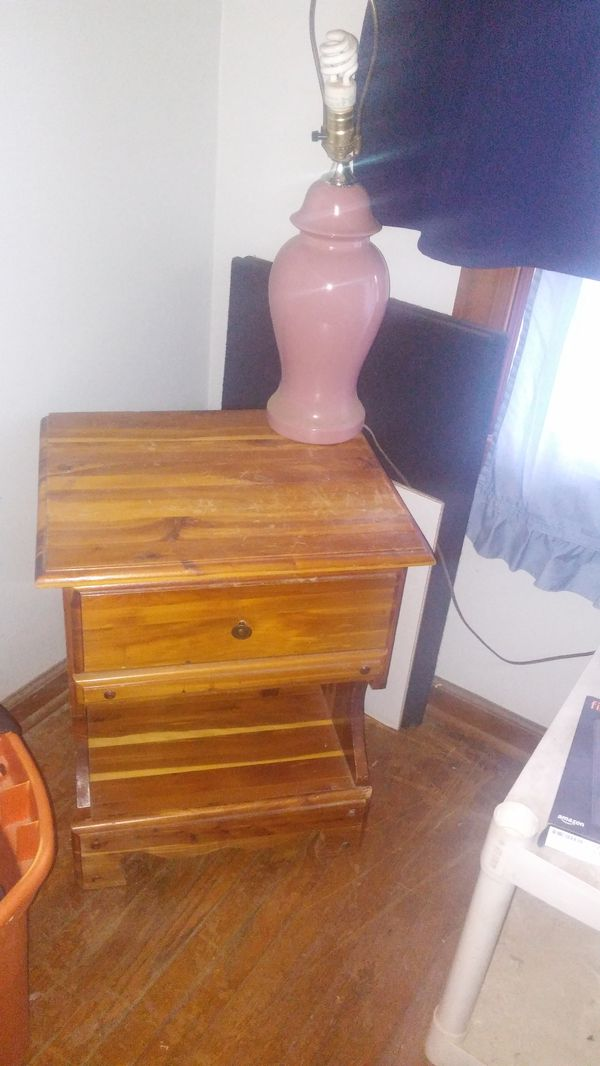 Twin bed head board with storage and foot board with lamp & night stand