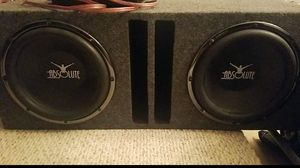 2 - 12,s Absolute subwoofers with box and 2900 watts amp for Sale in Humble, TX