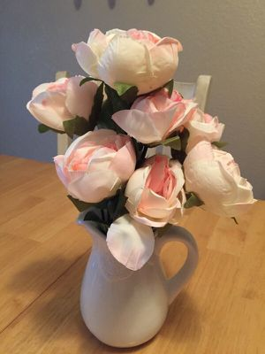 Shabby chic flower pitcher and peony flowers for Sale in Lemon Grove, CA