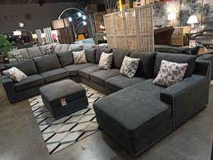 Sectional Sofa with Ottoman, Dark Grey for Sale in Norwalk, CA