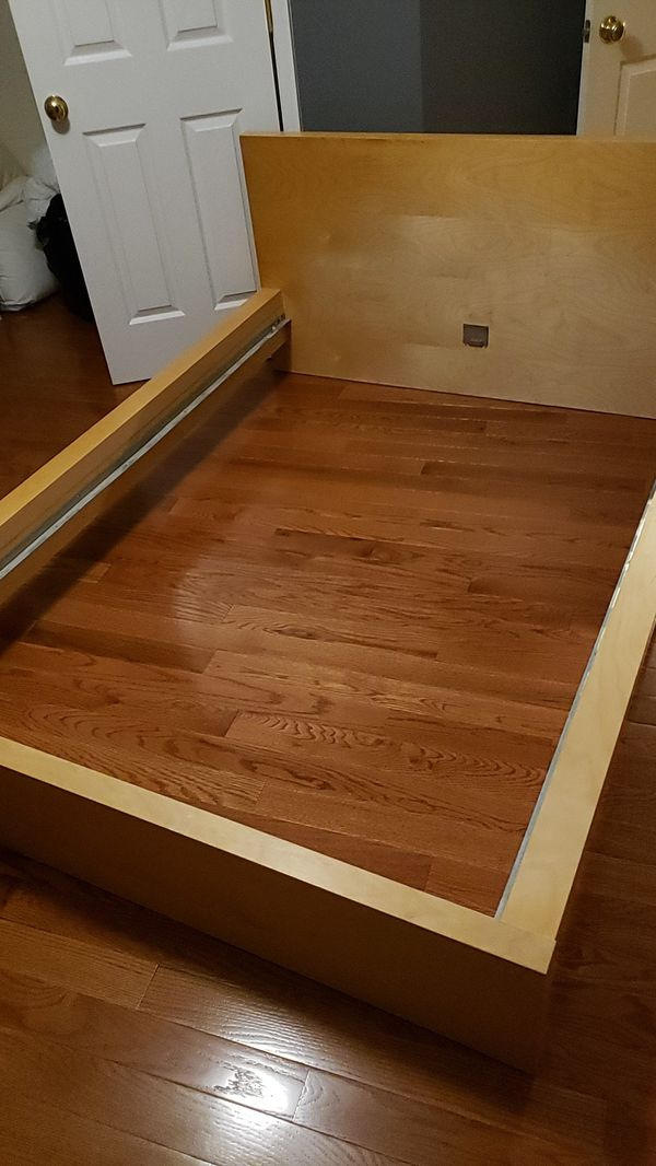 Wood size full bed frame and mattress and drawer set