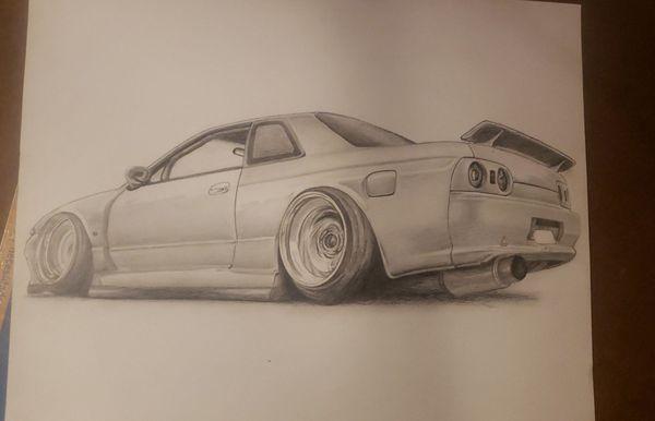 Skyline r32 GTR pencil drawing