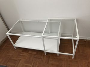 White metal glass extendable coffee table for Sale in New York, NY