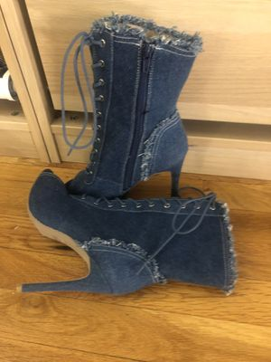Denim lace up booties for Sale in Somerville, MA