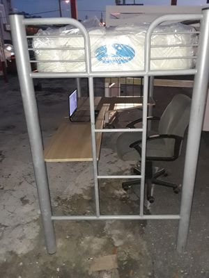 Metal bunk beds with office desk for Sale in Tampa, FL