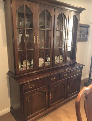 Cherry 2 piece hutch with glass shelves and lights inside for Sale in La Costa, CA