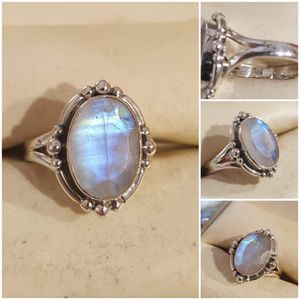 92.5 Sterling Silver Natural Rainbow Moonstone Beaded Ring for Sale in Pawtucket, RI
