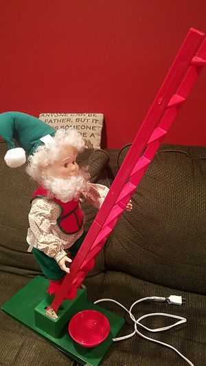 Vintage animated Christmas Elf motionette with moving ladder and arm for Sale in Old Bridge, NJ