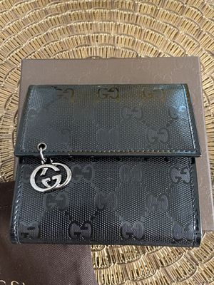 Authentic Gucci Imprime Monogram Mini Interlocking GG Black Wallet/Card Holder for Sale in Cypress, TX