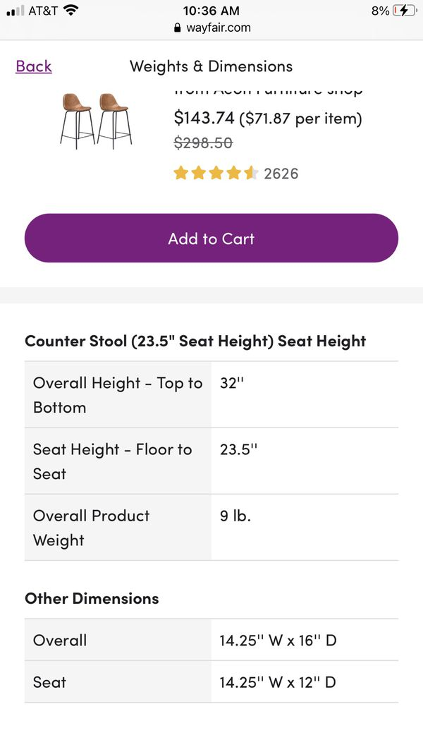 (Set of 2) Counter Stools in Honey