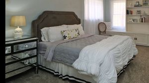 Gray Velvet Nailhead Queen Headboard + Bed Frame for Sale in Campbell, CA