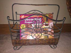 Magazine Rack Wroght Iron/Wicker for Sale in Snellville, GA