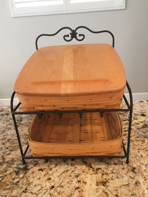 Lonaberger Metal Wright Iron 2 Tiered Paper Tray, with 2 Baskets and Wood Lid for Sale in Huntington Beach, CA