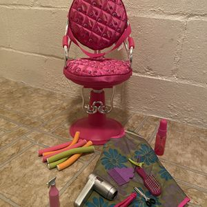 Hair Salon Chair with Accessories for American Girl or Our Generation Doll for Sale in Pittsburgh, PA