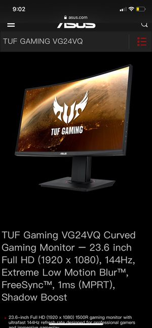 """ASUS TUF Gaming 23.6"""" Curved Monitor 144Hz for Sale in Irvine, CA"""