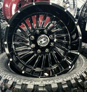 22 x 12 BLACK HARDCORE Wheels and tires set 33 1250 22 for Sale in Phoenix, AZ