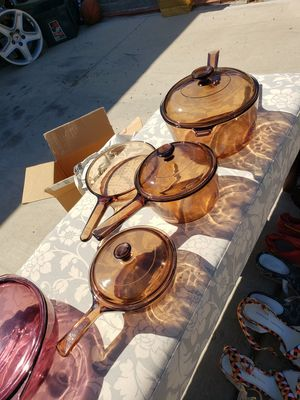 Vintage Corningware Pyrex Set in Amber Pots Lids Pan for Sale in Phoenix, AZ