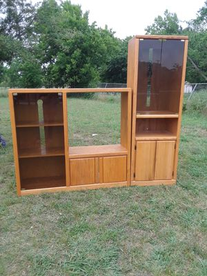 Entertainment Center & Shelf with glass and light inside Entertainment Center 17 w x 53 L x 4 ft. Shelves 17 wx 24 L x 71 height, 100. for Sale in Princeton, TX