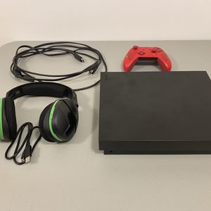 XBOX ONE X + Upgraded Red Controller + Wireless Headset - Excellent Condition! for Sale in Saugus, MA