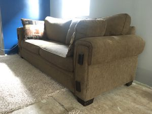 Brown and tan 2 seat couch for Sale in Frankfort, MI