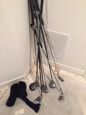 Assorted golf clubs and golf wood club covers for Sale in Chantilly, VA