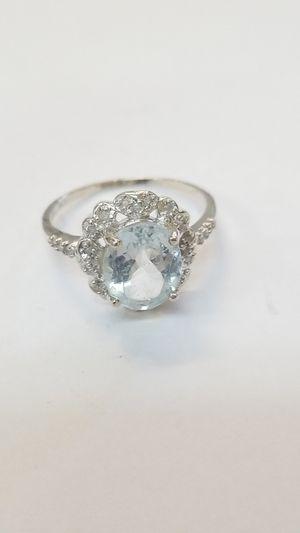 Silver Aqua Diamond Ring for Sale in San Diego, CA
