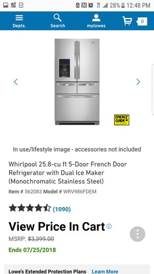 Whirlpool 25.8-cu ft 5-Door French Door Refrigerator with Dual Ice Maker (Monochromatic Stainless Steel) Item #562083Model #WRV986FDEM for Sale in Garland, TX