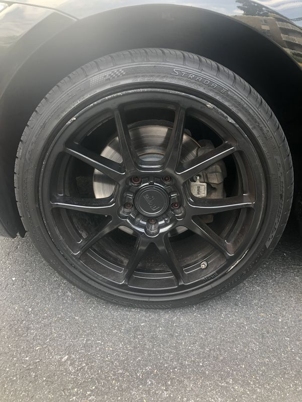 """(4)18"""" Black Niche Rims wrapped in Kumho Tires"""