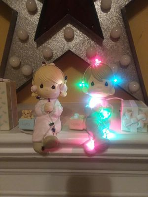 Unique precious moments stocking holders with lights. for Sale in Covington, GA