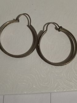 Sterling Silver Diamond Cut Large Hoop Earrings for Sale in Tampa,  FL