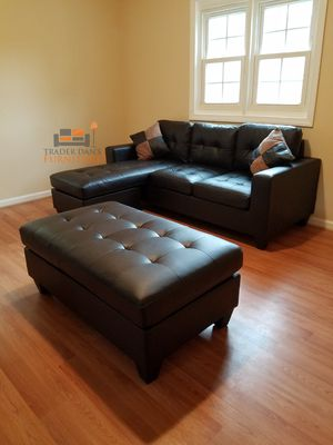 Brand New Espresso Bonded Leather Sectional Sofa Couch + Ottoman for Sale in Arlington, VA
