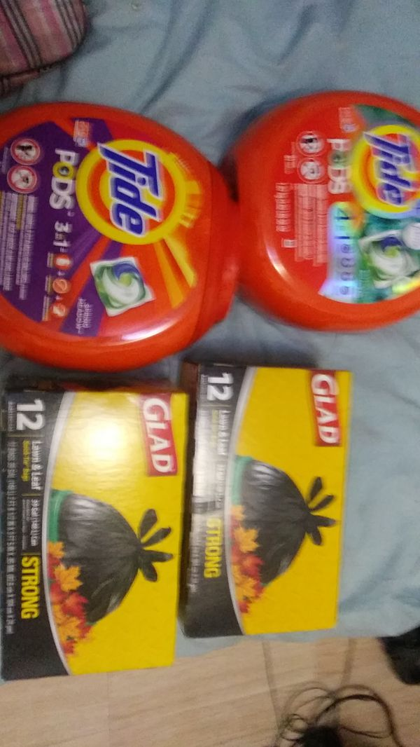Two brand new Tide Pods 81 load each. and two 12 packs 39 gallon trash bags strong all for $30