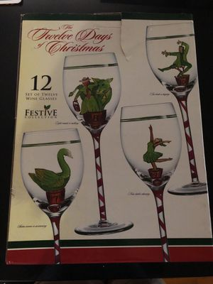Festive Collection 12 Days of Christmas Wine Glasses (Set of 12) for Sale in North Bergen, NJ