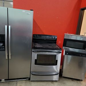 Stainless Steel Appliances Set Fridge Stove Dishwasher Microwave All Good Working Conditions Set For $499 Fridge Ice Maker Those Not Work But Fridge A for Sale in Wheat Ridge, CO