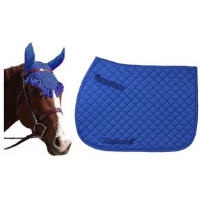 NEW w/Tags Saddle Pad & Ear Net/Fly Veil matching horse set blue for Sale for sale  Royal Palm Beach, FL