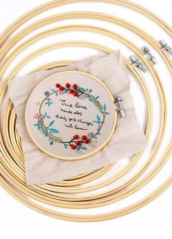 Embroidery Hoop,6 Pieces Bamboo Hoop Circle Cross Stitch Hoops 4 Inch to 10 Inch for Embroidery DIY Decoration and Cross Stitch $15!!! for Sale in Henderson,  NV