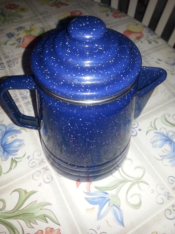Blue Enamel Percolator Coffee Pot