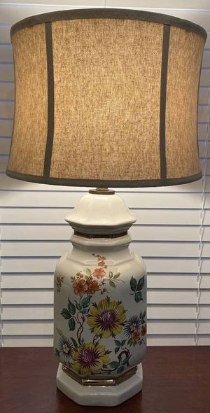 Vintage Antique Mid Century Modern MCM Ceramic Porcelain Ginger Jar Sun Flowers And Gold Trim Floral Table Lamp for Sale in Chapel Hill, NC