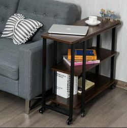 Sofa Side Table 360° Rotating Bookcase End Table w/Open Storage Shelves & Wheels for Sale in City of Industry,  CA