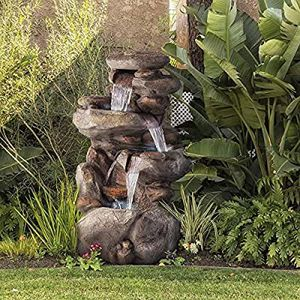 4-Tier Rock Water Fountain with LED Lights - Outdoor Water Fountain for Garden, Patio, Deck, Porch - Yard Art Decor for Sale in HALNDLE BCH, FL