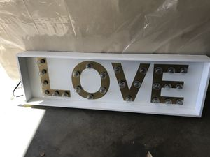 LOVE gold and white light up wall art -wedding decor - engagement decor for Sale in Poway, CA