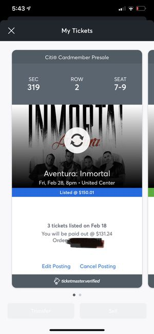 3 Aventura tickets (Friday) for Sale in Oak Lawn, IL