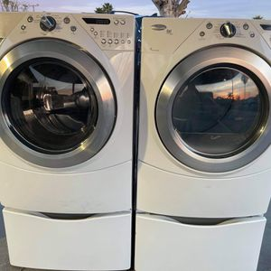 Whirlpool Duet Heavy Duty Washer And Gas Dryer With Steam Cycles And Sensor Drying With Pedestals for Sale in Redlands, CA